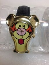 Timex Disney's Pooh Tigger Face Watch Black Leather band TTFN