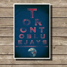 Toronto Blue Jays Poster Sports MLB Baseball Eyechart Art Print 12x16""
