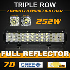 12INCH 252W CREE LED Work Light Bar Spot Flood Combo Offroad Pickup Van ATV 12V