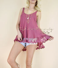 Berry Pink TRAPEZE LACE TRIM Sexy BOHO Knit Scoop neck Long Tunic Tank Top M