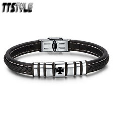 TTstyle Black Leather 316L Stainless Steel Iron Cross Buckle Bracelet Wristband