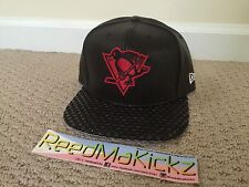 New Era Cap Hat 9FIFTY Pittsburgh Penguins Snapback Black Leather Retail $40