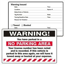 Pack of 50 White WARNING! NO PARKING AREA 8x5 Adhesive Stickers