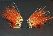 8 ORANGE FLAMETHROWER SALMON FLIES TIED TO SIZE 8 & 10 DOUBLE HOOKS.