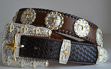 MEN  BROWN TEXAS LONGHORN CONCHO RODEO COWBOY LEATHER BUCKLE BELT L 36 37 38