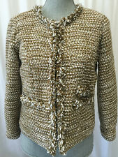CAbi Phoebe Coat Gold Metallic Tweed Size Small S Boucle Blazer # 343 Tan