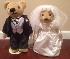"FRANKLIN MINT DOLL 18"" TEDDY BEAR BRIDE & GROOM WINSTON & EDWINA"