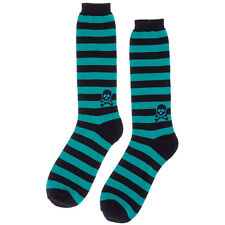 Sourpuss Striped Skull Men's Socks Black/Teal Crossbones