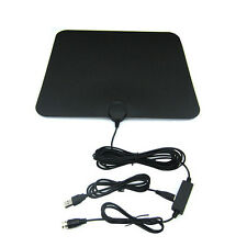 50 Miles HDTV Indoor Flat Antenna Amplified VHF UHF 1080P Digital TV Accessory