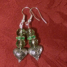 Glass bead with spacer, green, drop dangle, silver plated hook, tibetan bead 165