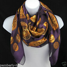 Coins Of Gold Womens Scarf Money Collecting Striped Purple Fashion Scarves New