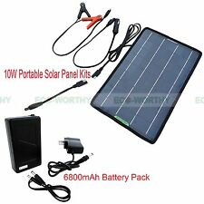 10W Portable Solar Panel Backup Power + 6800mAh DC12V Battery Pack Power Bank