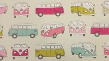 Fryetts Campervan Pink Licensed VW Volkswagen Curtain Upholstery Craft Fabric