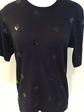 COMME DE GARCON 100% Wool Jersey Tee Top Ink Navy & Black Sequins, MED