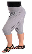 Ladies 3/4 Harem Baggy Shorts Women Plain Cropped Ali Baba Trousers Pants 8-26
