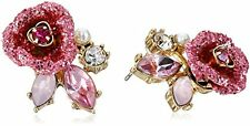 "Betsey Johnson ""Glitter Rose"" Mismatch Stud Earrings"