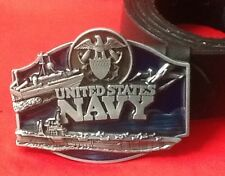 US NAVY SEAL EAGLE ANCHOR AIRCRAFT CARRIER SHIP COASTGUARD BUCKLE LEATHER BELT