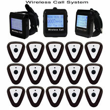 Wireless Guest Calling Paging System 3 Wrist Watch Receiver+15 Call Button Pager