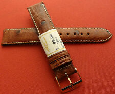 ZRC Made in France Brown GENUINE Ostrich 18mm Watch Band Gold Tone Buckle $95.95