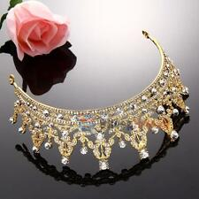 Fashion Wedding Bridal Crystal Gold Headband Crown Tiara Hair Accessories Band