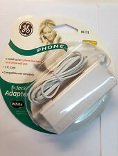 (LOT OF 4) General Electric 86131 1 to 5 phone jack  6p4c  5' cord  White NEW!