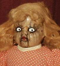 "HAUNTED Antique Composition Doll ""EYES FOLLOW YOU""  Old Creepy Halloween prop"
