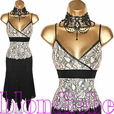 KAREN MILLEN Exquisite PINK Black LACE COCKTAIL Evening DRESS  UK 8