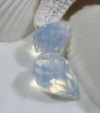 Briolette Focal Bead Side Drilled White Light Opalite Crystal 18 x 12 MM (2)