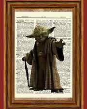Yoda Star Wars Dictionary Art Print Book Page Picture Poster Collectible Vintage
