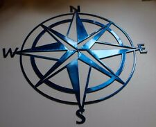 Nautical COMPASS ROSE  WALL ART DECOR Metallic Blue
