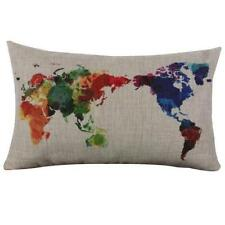 Vintage Colorful World Map Cotton Linen Pillow Case Sofa Cushion Cover
