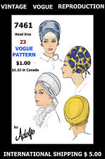 PATTERN VOGUE 7461 Designer ADOLFO HAT TURBAN Vintage 1960s Millinery Fabric 23""