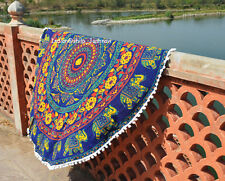 Round Tapestry Mandala Hippie Beach Rug Throw  Bohemian Roundie Yoga Mat-11