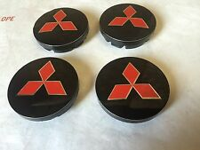 NEW MITSUBISHI SET OF 4 CENTER WHEEL WHEELS RIM RIMS CAP HUB CAPS 55MM BLACK RED