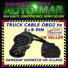 VOLVO TRUCK DAF MACK CUMMINS 6+9 PIN TO OBD2 ADAPTOR DIAGNOSTIC CABLE