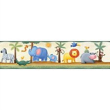 JUNGLE ANIMALS WALLPAPER BORDER peel & stick zoo rainforest safari lion monkey