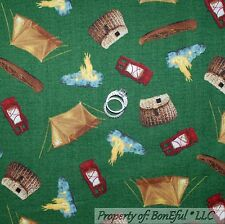 BonEful Fabric FQ Cotton Quilt Green Brown Camp Cabin Fish Tent Fire S Boy Scout