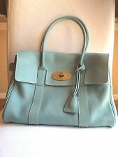 MULBERRY Bayswater Blue Grained Leather Purse Satchel Large Shoulder Bag