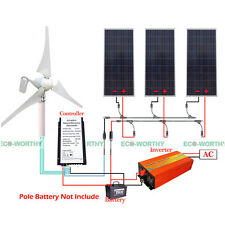 400W Wind Turbine & 480W Solar Panel & 1000W Off Grid 220V Inverter & Controller