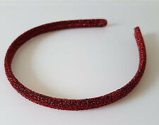 Gorgeous 1cm wide sparkly glitter fabric covered headband, 10 colour options