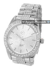 mens big silver tone CZ ice out clubbing watch techno pave link bracelet