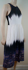 TIBI IBIS Silk Bordered Feather Print Cross Rear Pleated Evening Dress US6 UK10