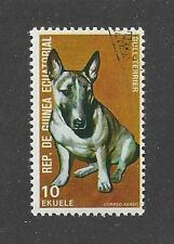 Dog Art Head Portrait Postage Stamp COLORED BULL TERRIER Equatorial Guinea CTO