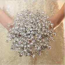 Handmade Crystal Wedding Bouquet Brooch Posy Bridesmaid Rose Flower Bridal SILK