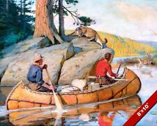 EXPLORERS MOUNTAIN MEN IN CANOE COUGAR P GOODWIN PAINTING ART REAL CANVAS PRINT
