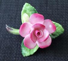 Vintage Signed CARA STAFFORDSHIRE Bone China England PINK ROSE Pin Brooch