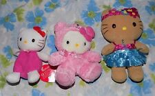 CUTE LOT 3 Small Sanrio Hello Kitty Cat Plush Doll Toys Bear Outfit Hawaiian