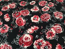 Dress Fabric - Electric Flowers in Red - Stunning Viscose Dress Fabric