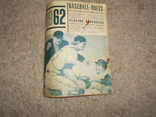 1962 Baseball Rules Playing and Scoring with player info and MLB Schedules