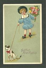 1920's Postcard Boy With His Dog Heartiest Congratulations Germany 7952
